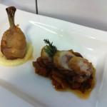 Coscia di pollo con salsa all'aglio e funghi invernali